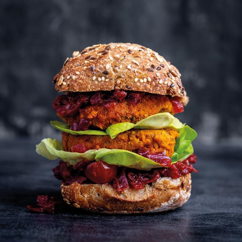 Pompoen-pecan burger