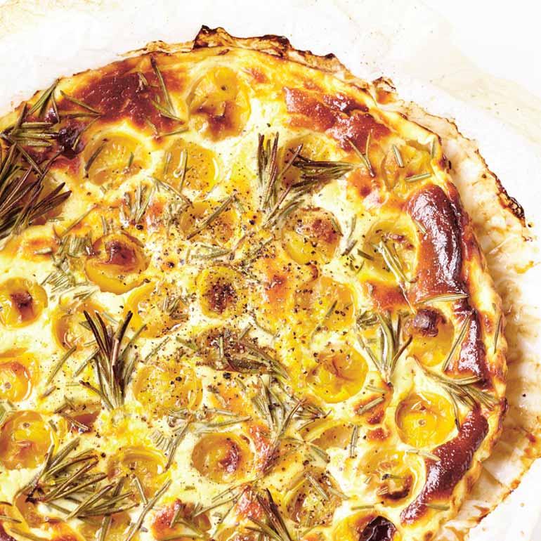 hartige taart light Hartige taart met tomaat, geitenkaas en rozemarijn ingredienten  hartige taart light