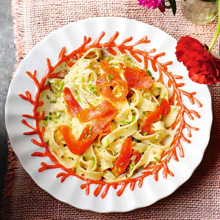 Pasta Carbonara met zalm