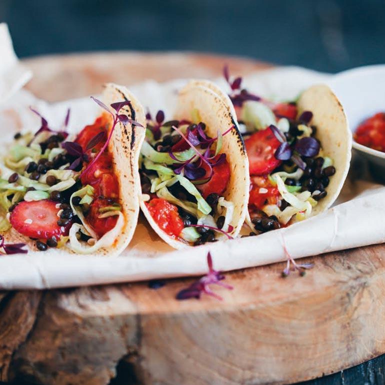 Taco's met linzen & aardbeien