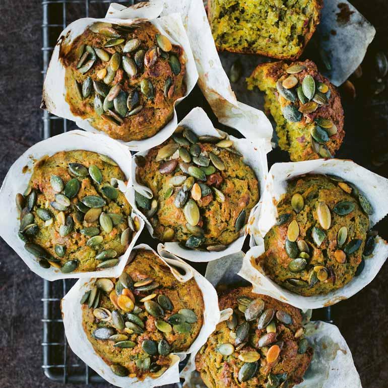 Muffins met zoete aardappel en spinazie