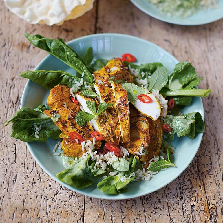 Bombaykip met spinazie & rijst