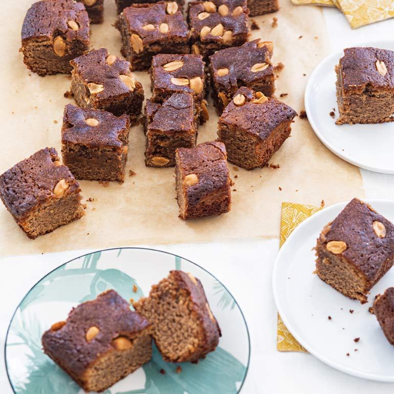 Hemelse brownies met pinda's