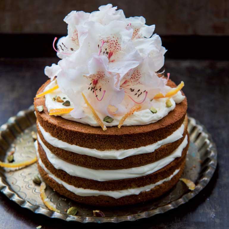 pistachecake met oranjebloesemroom