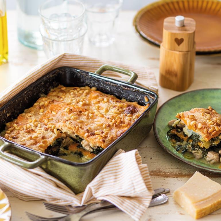 Pompoen-spinazie lasagne