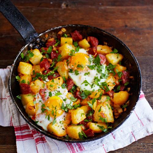 Aardappel-chorizo-ontbijt