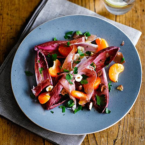 Roodlofsalade met ham & clementine