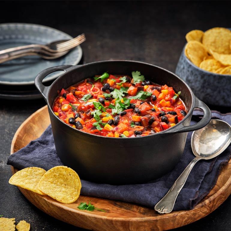 Chili sin carne met zoete aardappel