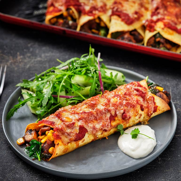 Enchilada's met paddenstoelen & spinazie