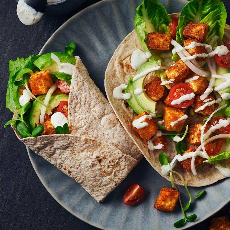 Vegetarische fajita wraps met crispy selderij