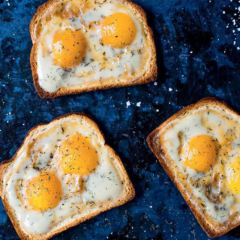 Vegan sunny sides up toast