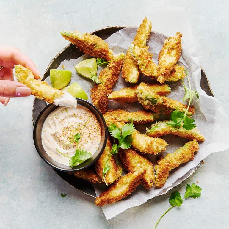 Avocado fries met dip