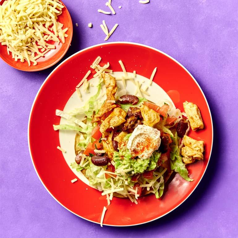 Tover taco's met kip, kidneybonen & avocado