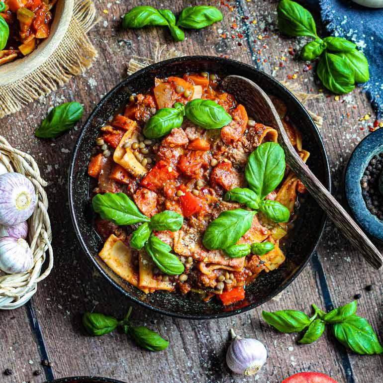 Vegan lasagne soep